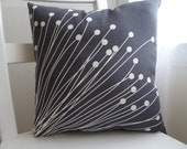 Charcoal Gray Mid-Century Modern Dandelion Pillow (16 x 16 inch)
