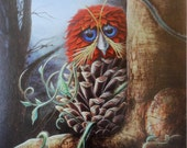 "GICLÉE of original ""ANYHOO"", a fine art painting of a pinecone owl by artist Heather J. McKey"