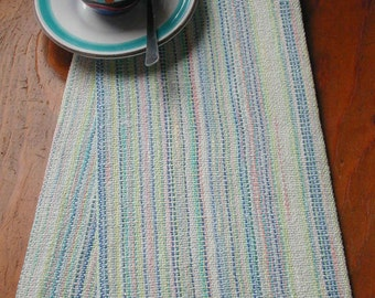 Blues with Pastels Handwoven Kitchen Towel