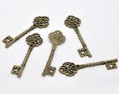 3 pcs - Antique Bronze KEY Charms Pendants