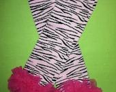 Light Pink Tiger Striped Legwarmer with Hot Pink Chiffon