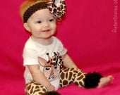 Boutique Giraffe Onesie with Matching Hair Bow & Leg Warmers/Crawlers