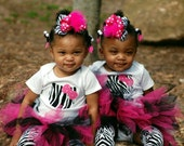 I'm a Rock Star Hello Kitty Zebra Print Tu Tu Set with Matching Leg Warmers & Boutique Hair Bow All Sizes Available
