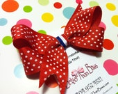 Red & White Polka Dot 4th of July Hair Bow