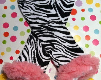 Baby Girls leg Warmers-Black & White Zebra Print with Chiffon Ruffle-Choose Ruffle Color-Leggings-Sz 6mo-8yrs-WHOLESALE