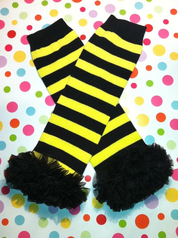Baby/Girl's Yellow & Black Bumble Bee Striped Leg Warmers with Black Chiffon Ruffle