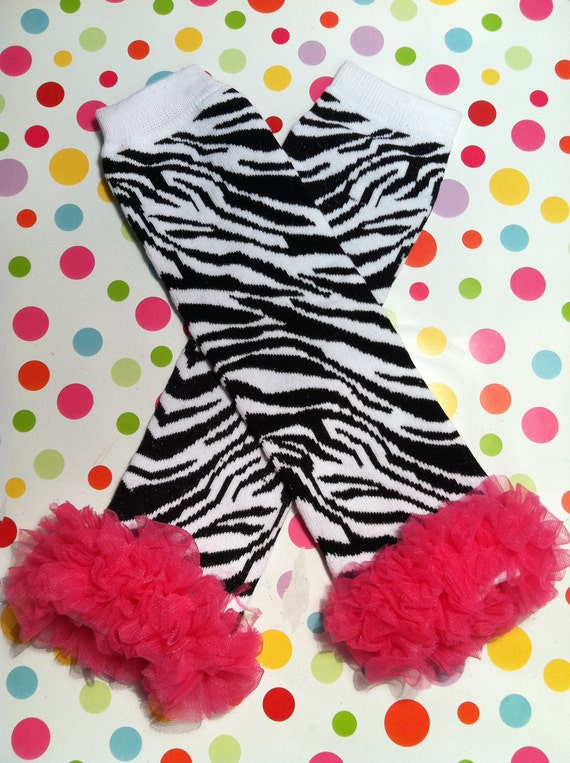 SALE-Baby Girl Leg Warmers with Ruffles-Black & White Zebra Print Leg Warmers with Hot Pink Chiffon Ruffle-