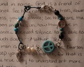 Peace & Love for the Earth: Turquoise pearl sterling silver bracelet - Nature blue leather leaf charm celtic heart