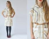 70s pastel day cotton dress s/m