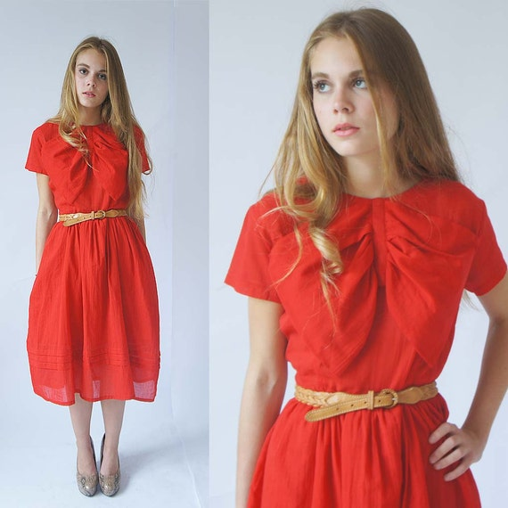 Handmade and designed bylouisa cherry red bow cotton party dress
