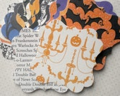 Halloween Bracket Labels (22) Halloween Tags-Shabby Gift Tags-Shabby Labels-Die Cut-Hang Tags-Bulk Tags-Blank Labels-Halloween Embellishment