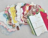 Four Seasons Bracket Labels (24) Price Tags-Gift Tags-Shabby Labels-Die Cut-Hang Tags-Bulk Tags-Blank Labels-Paper Destash-Shabby Gift Tags