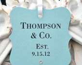 "Personalized ""& Co"" Inspired Wedding / Bridal Shower Favor Tags - W/ Gems / Cottage Chic - Set of 10 -  Escort Cards - Cupcake Toppers"