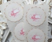 Shabby Chic Pink Teapot Stickers / Seals - Cottage Chic - Set of 12 - 1.5 inch scallop round - Tags - Toppers