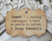 Personalized Vintage Sweet Definition Baby Shower Favor Tags - Vintage Inspired - Cottage Chic - Set of 12 - Showers, Favors