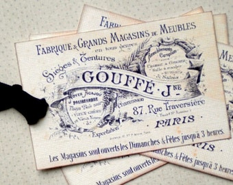 French Shabby Tags/Cards/Journaling - Set of 6