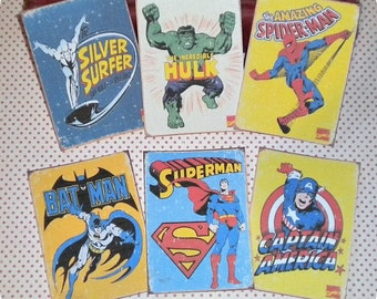 Vintage Superhero Cards (6) Superhero Gift Tags-Superhero Party-Superhero Theme-Tags for Boys-Tags for Girls-Birthday Favor Tags-Party Tags