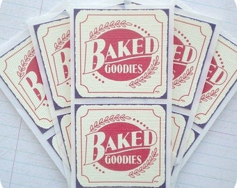 Vintage Style Baked Goodies Stickers / Envelope Seals - Set of 12 - Baked Goods, Labels