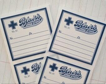 Vintage Style Drug Store Stickers / Envelope Seals - Set of 12 - Baked Goods, Labels, Product Packaging