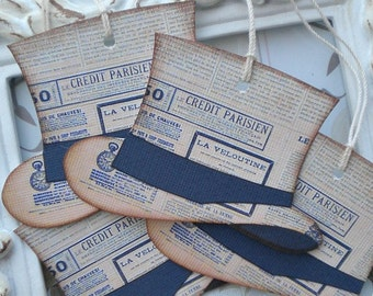 French Paris Hat Tags (6) Tags for the Groom-Father's Day Tags-Tags for Men-Groom Gift Tags-Groomsmen Tags-Hat Die Cut-Wedding Gift Tags