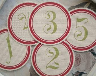 Red/Green Number Circles (31) Number Tags-Calendar Circles-Date Circles-Number Labels-Advent Calendar Number-Scrapbook Number-December Daily