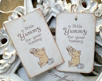 Classic Winnie the Pooh Yummy for your Tummy Tags- (6) - Pooh Favor Tags-Pooh Baby Shower-Vintage Pooh Tags-Pooh Birthday-Classic Pooh Party