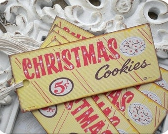 Christmas Cookies Tags (6) - Vintage Style Tags-Retro Gift Tags-Food Gift Tags-Treat Tags-Cookie Labels-Shabby Gift Tags-Christmas Gift Tags