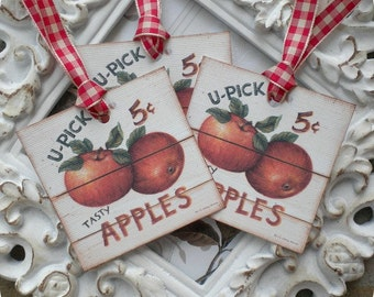 Apple Gift Tags (6) Food Tags-Food Labels-Favor Tags-Treat Tags-Jar Labels-Shabby Gift Tag-Vintage Style Tag-Fruit Tags-Tags for Food Gifts