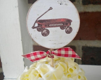 Little Red Wagon Cupcake Toppers - Set of 10 - Red Wagon Birthday-Red Wagon Party-Red Wagon Baby Shower-Red Wagon Theme-Radio Flyer Party