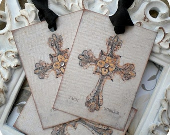 Cross Gift Tags (6) Cross Favor Tags-Shabby Gift Tag-Religious Gift Tags-Baptism Favor Tags-Treat Tag-Prayer Tags-Tags for Religion