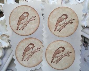 Hand Stamped Bird Stickers / Seals - 1.25 inch circle - Set of 12