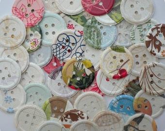 Four Seasons Shabby Paper Button - 2.00 SALE (48) Button Die Cut-Button Embellishment-Card Making Supplies-Paper Confetti-Paper Destash