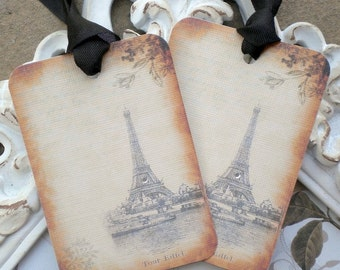 Eiffel Tower Gift Tags (6) - Paris Gift Tags-Vintage Style Tags-Paris Favor Tags-Birthday Gift Tags-Wedding Gift Tags-Shower Gift Tags