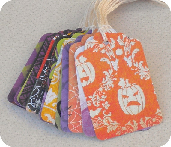 Halloween Gift Tags (23) Halloween Favor Tag-Halloween Treat Bag Tags-School Treat Tags-Tags for Halloween-Destash Paper Tags-Boutique Tags