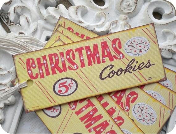 Christmas Cookies Tags (6) - Vintage Style Tags-Retro Gift Tags-Food Gift Tags-Treat Tags-Cookie Labels-Shabby Gift Tags-Christmas Gift Tags