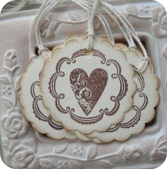 NEW - Vintage Inspired Heart Tags - 1.5 inch scallop circle - Cottage Chic - Set of 10