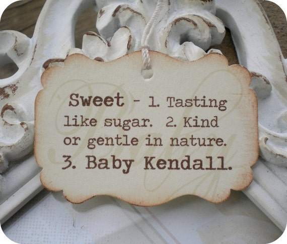 items similar to personalized sweet definition baby shower favor tags