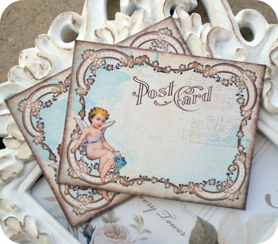 Angel Cherub Post Card (6) Lunch Box Notes-Note Cards-Wish Cards-Prayer Notes-Vintage Post Card-Religious Card-Shabby Prayer Card