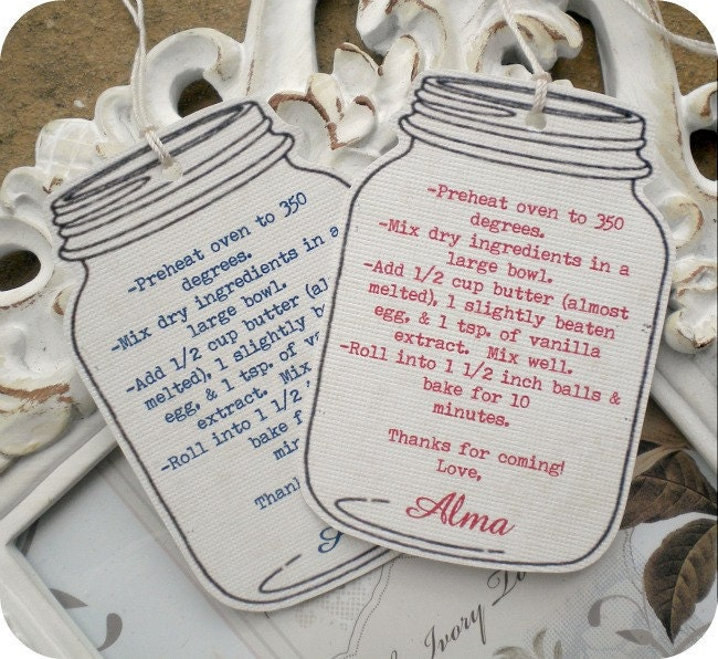 Wedding Favor Tags For Mason Jars : Personalized Mason Jar Favor Tags Wedding by LittlePaperFarmhouse