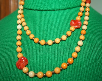 Necklace Coro Beaded Long and Lovely Unusual Colorful