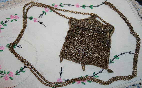 REDUCED Victorian Goldtone Metal Mesh Coin Purse Shoulder Chain Handle Free Domestic Shipping