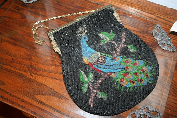 JUST REDUCED Glass Bead Peacock Vintage Handbag Needs Repaired
