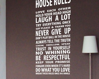 Family Love House Rule Wall Quotes Wall Art / Wall Stickers / Wall Decals from AmazingSticker