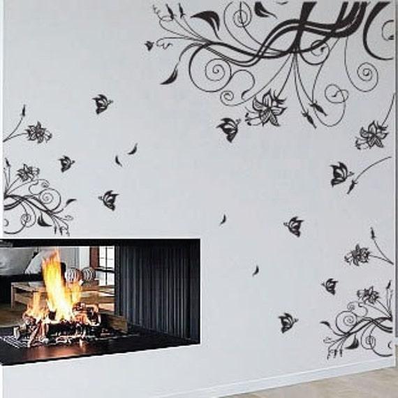 Flower Butterfly Wall Art / Wall Stickers / Wall Decals from AmazingSticker