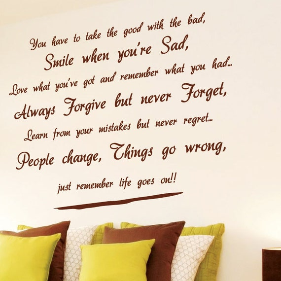 Life goes on Wall Art Quotes / Wall Stickers / Wall Decals from AmazingSticker