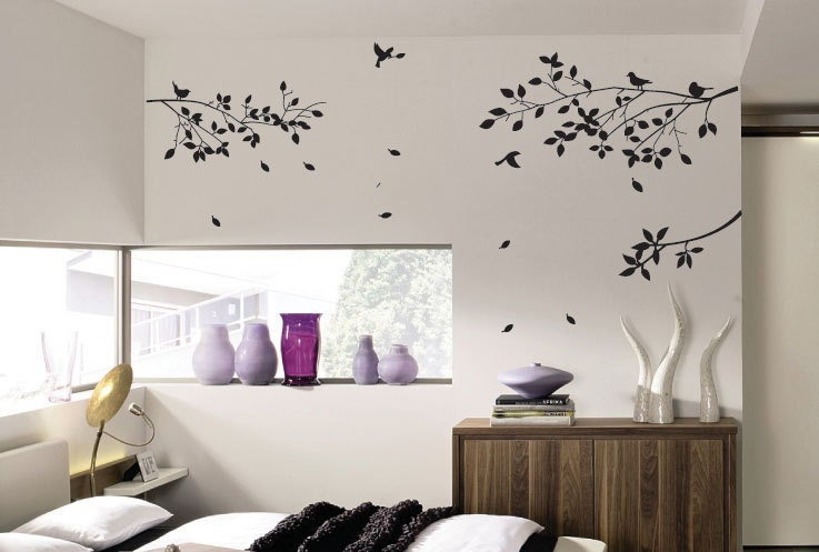 vogel blumen baum wandtattoo wandaufkleber aus von. Black Bedroom Furniture Sets. Home Design Ideas