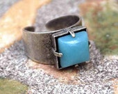 RING AVENTURINE GREEN Square Stone Oxydized Silver Adjustable  Beauty in Simplicity Appealing