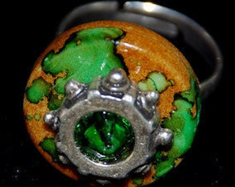 RING  Ceramics Green Brown Stainless Steel  DARE to WEAR