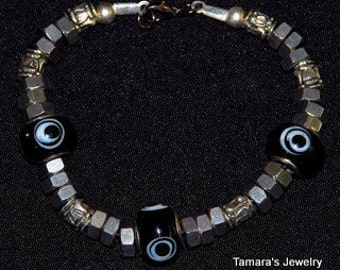 MEN'S BRACELET of STAINLESS Steel Sophisticated Masculine Nuts Eye Beads Whimsical Sassy Funky Hipster Dare to Wear