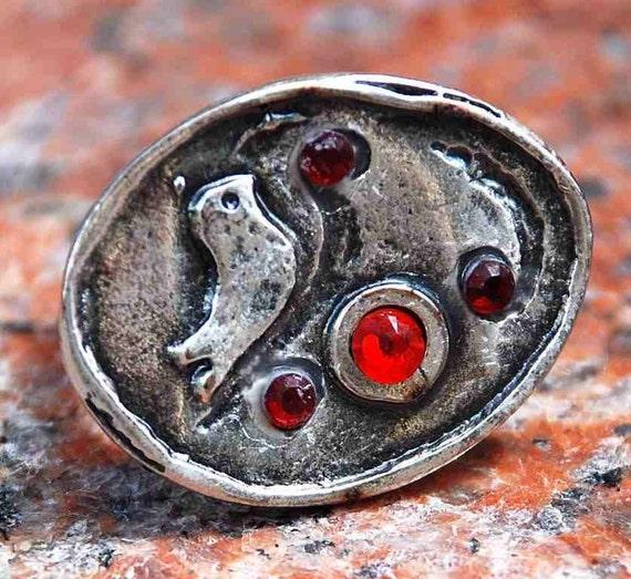 RING  EYECATCHER BIRD Swarovski Crystals Stunning Romantic Silver Nice Cute Metal  Boho Chic